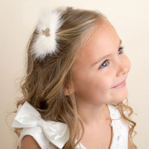 Cute Cute Ivory Teddy Fur Hair Clip